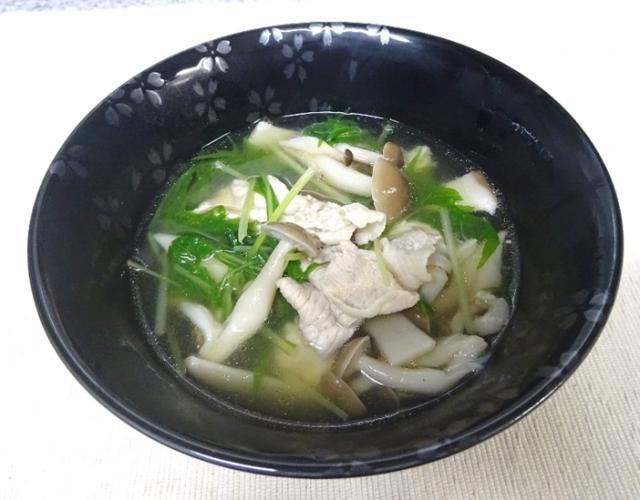 豚肉ときのこの中華風スープ