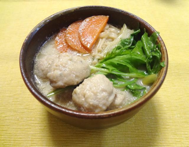 つみれの生姜豆乳スープ