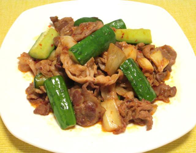 きゅうりの豚肉キムチ炒め