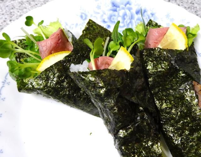 ローストビーフの手巻き寿司