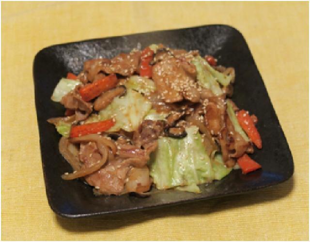 豚こま肉の味噌マヨ炒め