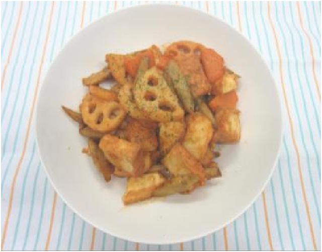 根菜と厚揚げのトマみそ炒め