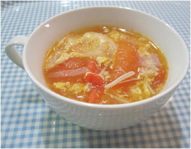 トマトと卵のしょうがスープ
