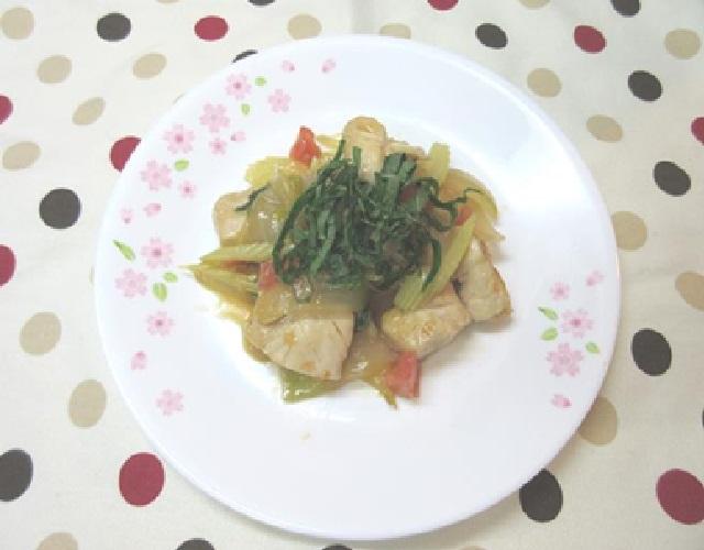 ササミと香味野菜の炒めもの