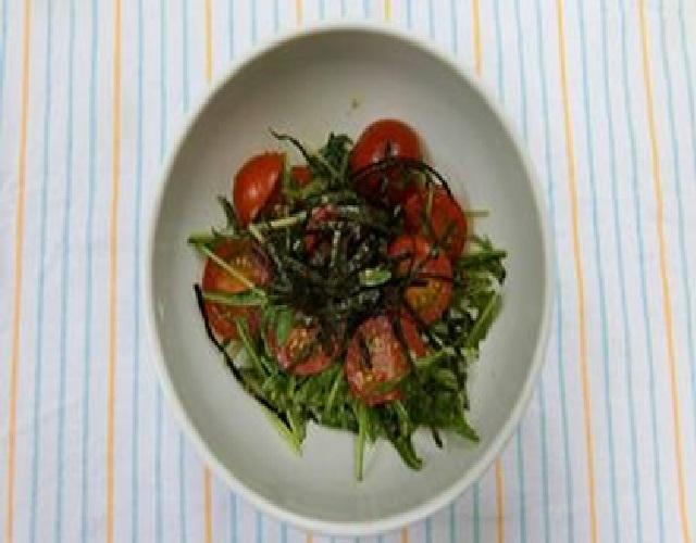 ミニトマトと水菜の簡単ナムル