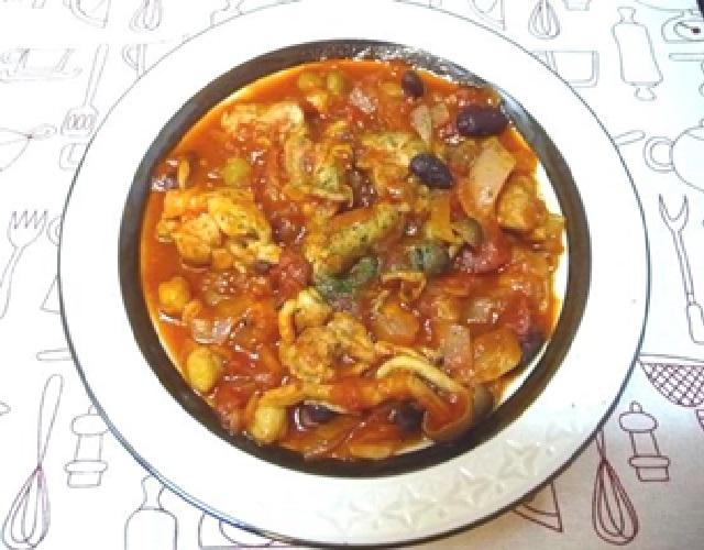 鶏モモ肉と豆のトマト煮