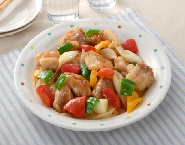 鶏肉と彩り野菜の甘酢照り焼き