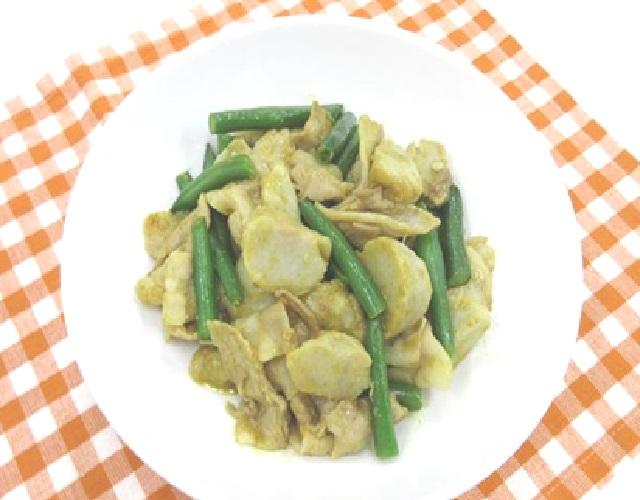 豚肉と土小芋のカレー炒め