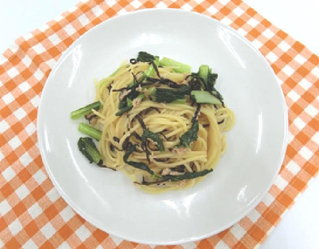 小松菜とツナの塩昆布パスタ
