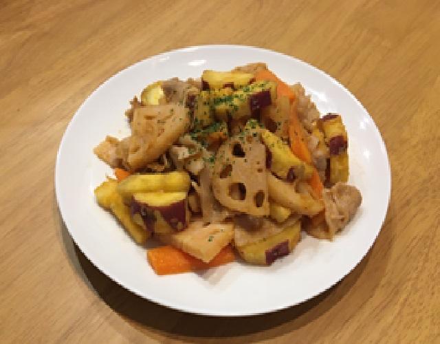 豚肉と根菜の生姜味噌炒め