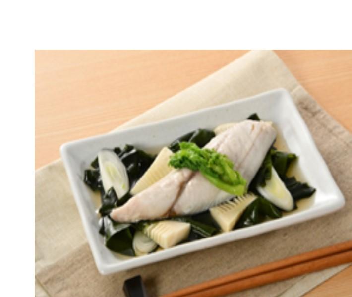 わかめ香る筍と白身魚の酒蒸し